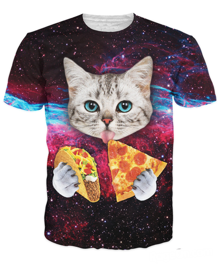 3f9342d2cf036 ... 3D Men s T-Shirt Short Sleeve Cat Eating Pizza in Space Printed Tshirt  Homme O Neck Brand Clothing. Sale! gallery desc