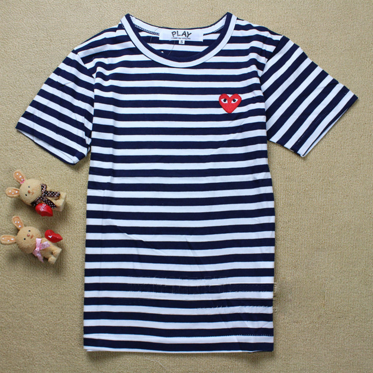 82d2e9f639 100% cotton good quality love COMME DES GARCONS cdg play couple tshirts 4  color Striped short sleeve mens t shirt fashion 2015