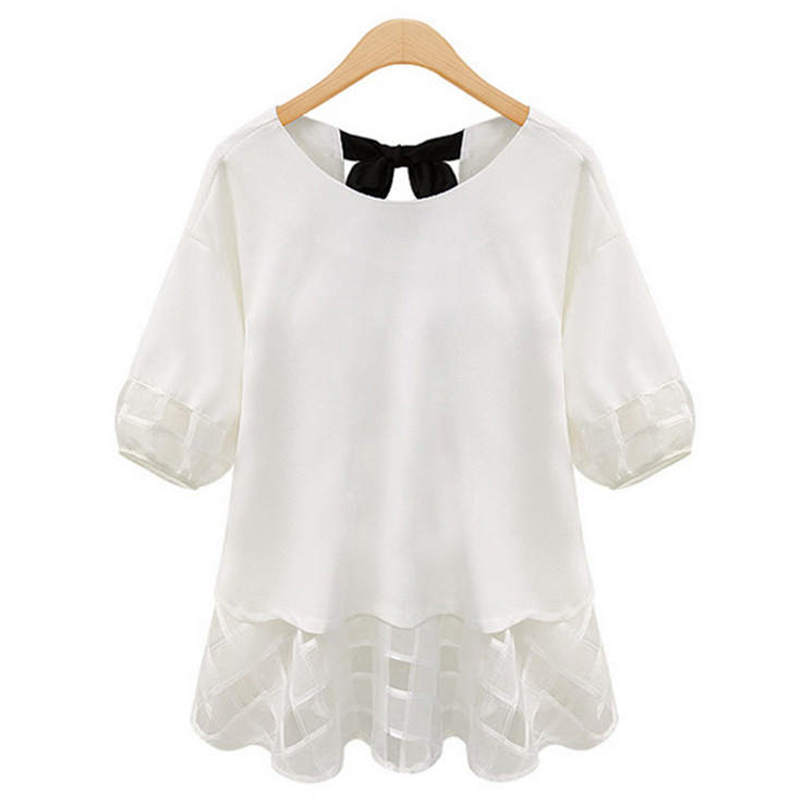 68656273e8879 2016 Women s T Shirts Spring Summer Casual Lace Chiffon Patchwork Bow  Fashion O-Neck Half Sleeve 5 Size